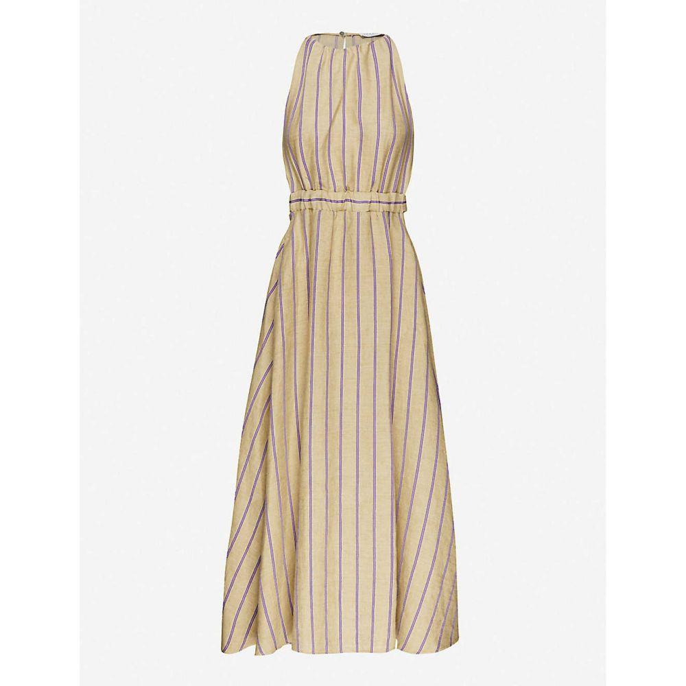 サンドロ SANDRO レディース ワンピース ミドル丈 ワンピース・ドレス【Taila striped linen-blend midi dress】BEIGE PURPLE