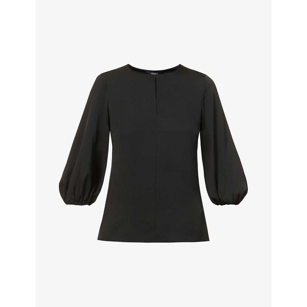 top】BLACK round-neck セオリー トップス レディース THEORY 【Puffed-sleeve stretch-silk