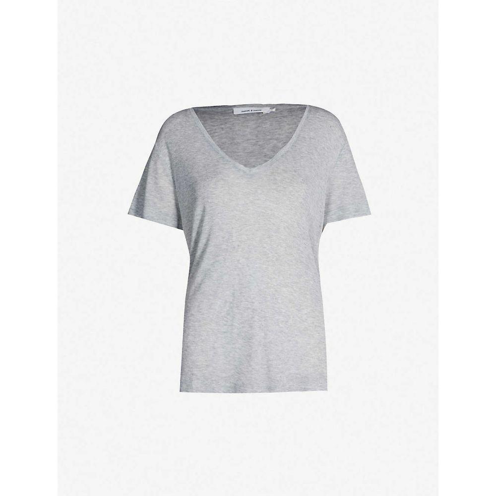 サムソエ&サムソエ SAMSOE & SAMSOE レディース Tシャツ Vネック トップス【V-neck jersey T-shirt】Grey melange