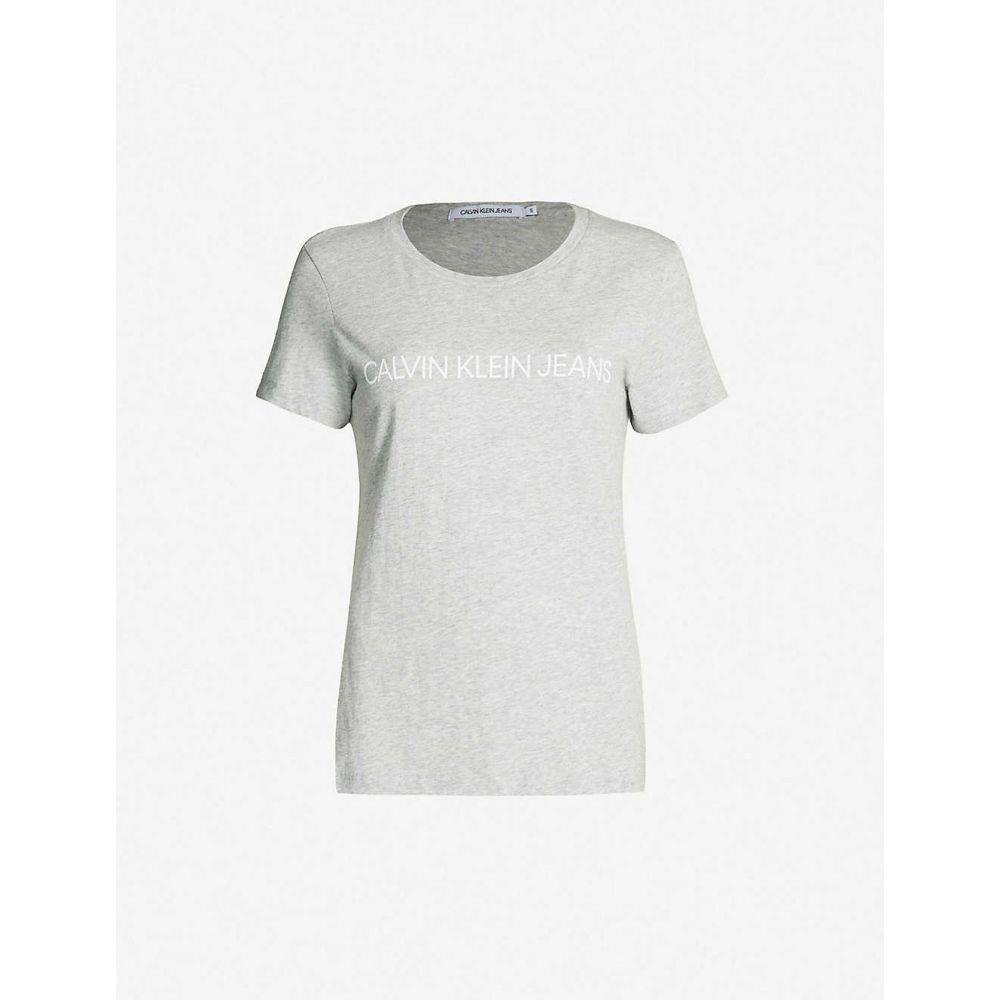 カルバンクライン CALVIN KLEIN レディース Tシャツ トップス【Logo-print slim-fit T-shirt】Light grey heather