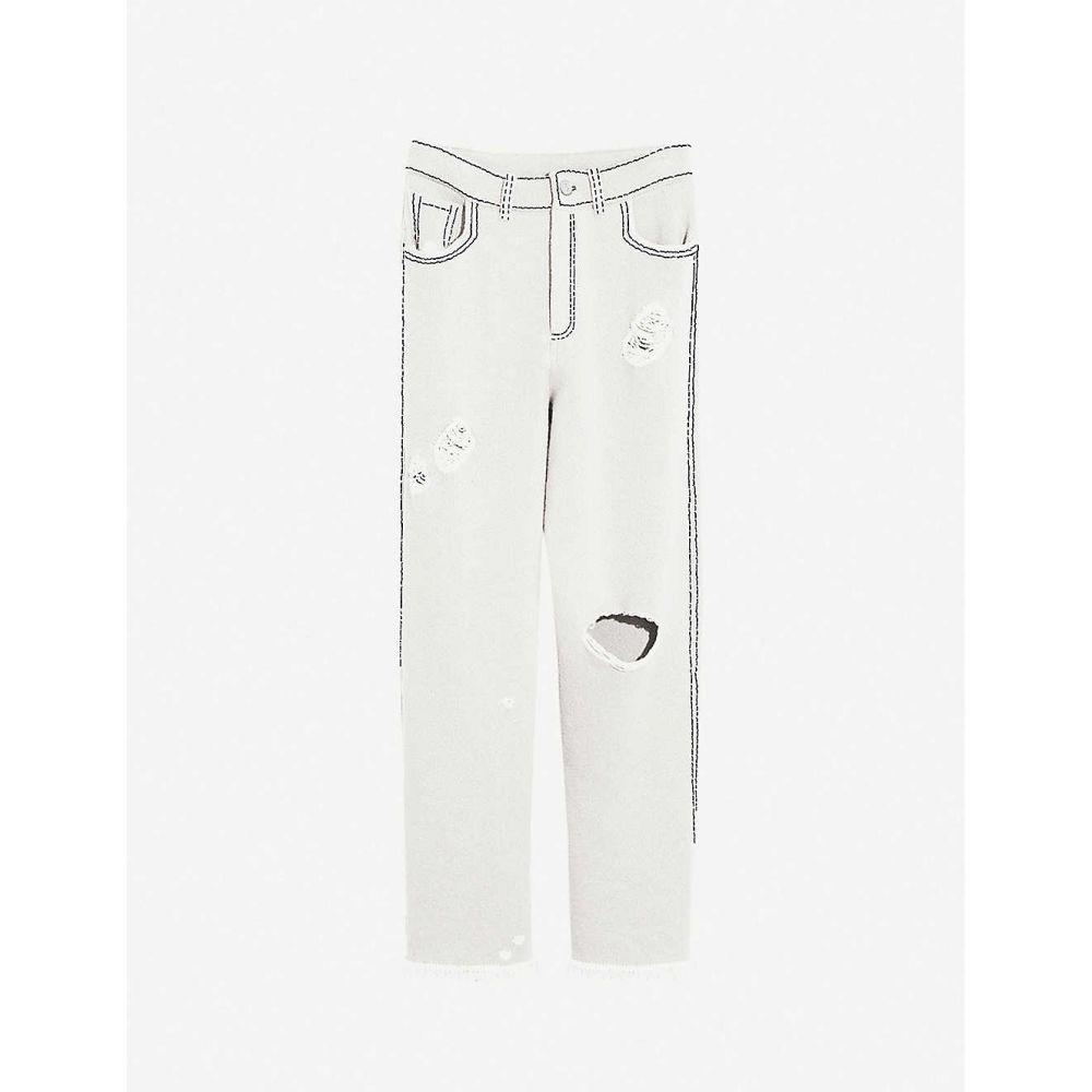 バリー BARRIE レディース ボトムス・パンツ 【Distressed high-rise cashmere and cotton-blend trousers】WHITE