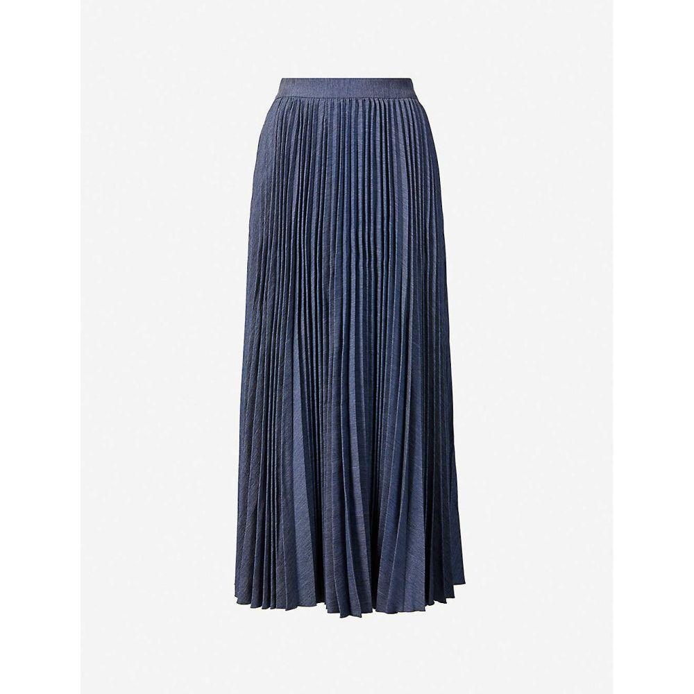 フーシャン ツァン HUISHAN ZHANG レディース ひざ丈スカート スカート【Phoebe pleated high-waist woven midi skirt】BLUE