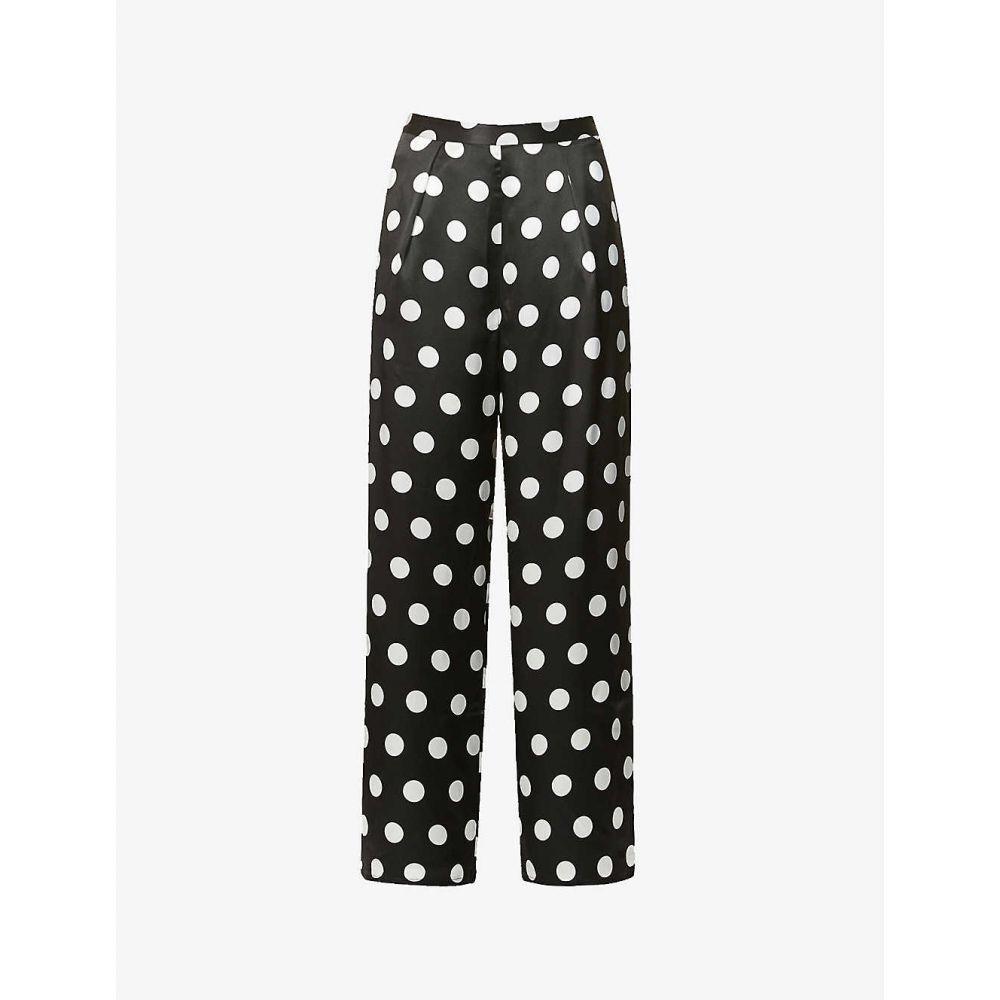 オリビアルービン OLIVIA RUBIN レディース ボトムス・パンツ 【Lenara polka-dot wide-leg high-rise silk trousers】BLACK