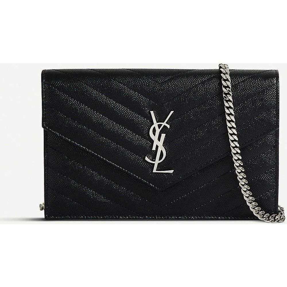 イヴ サンローラン SAINT LAURENT レディース ショルダーバッグ バッグ Monogram leather chain wallet BLACK SILVER HW 格安,爆買い