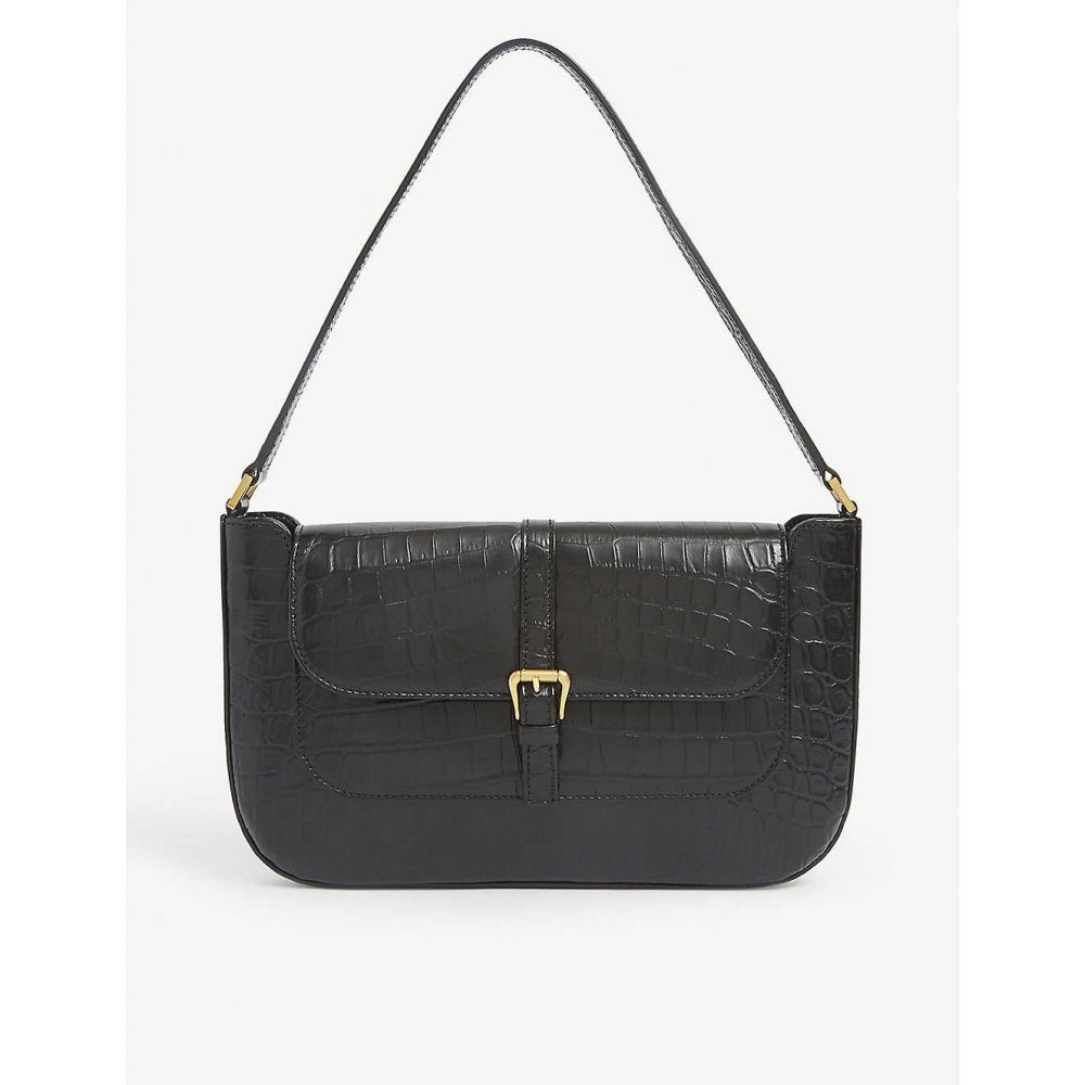 バイ ファー BY FAR レディース ショルダーバッグ バッグ【Miranda crocodile-embossed deadstock-leather shoulder bag】BLACK