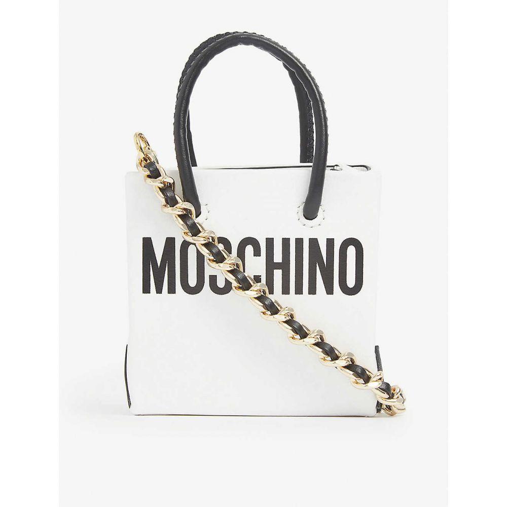 モスキーノ MOSCHINO レディース トートバッグ バッグ【Logo-print mini leather shopper bag】WHITE BLACK