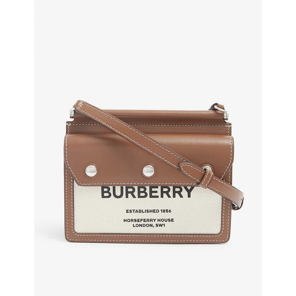 バーバリー BURBERRY レディース ショルダーバッグ バッグ Horseferry-print leather and canvas cross-body bag Natural malt Brown 大得価,人気