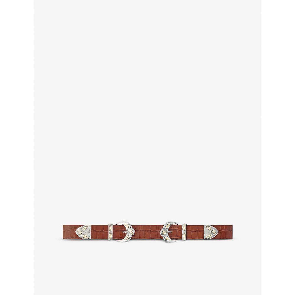 マージュ MAJE レディース ベルト 【Ariona double buckle high waisted reptile-embossed leather belt】COGNAC