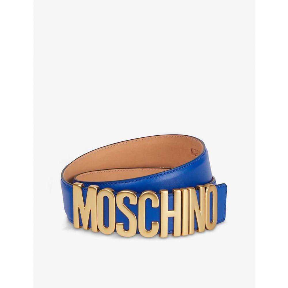 モスキーノ MOSCHINO レディース ベルト 【Logo-embossed leather belt】BLUE