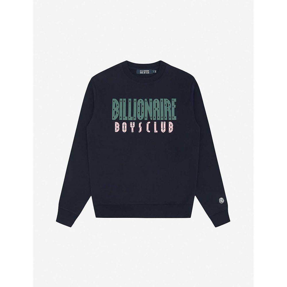 ビリオネアボーイズクラブ BILLIONAIRE BOYS CLUB メンズ スウェット・トレーナー トップス【Logo-print cotton sweatshirt】NAVY