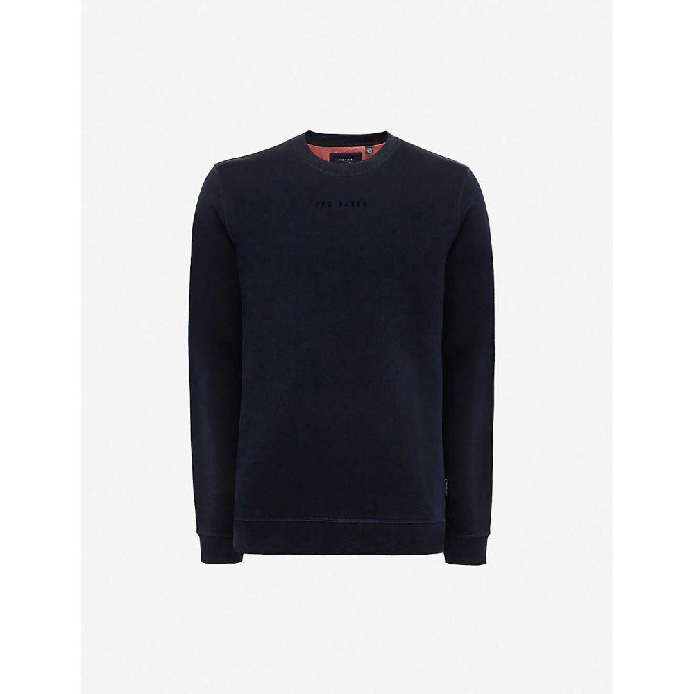 テッドベーカー TED BAKER メンズ スウェット・トレーナー トップス【Mond logo-embroidered jersey sweatshirt】NAVY