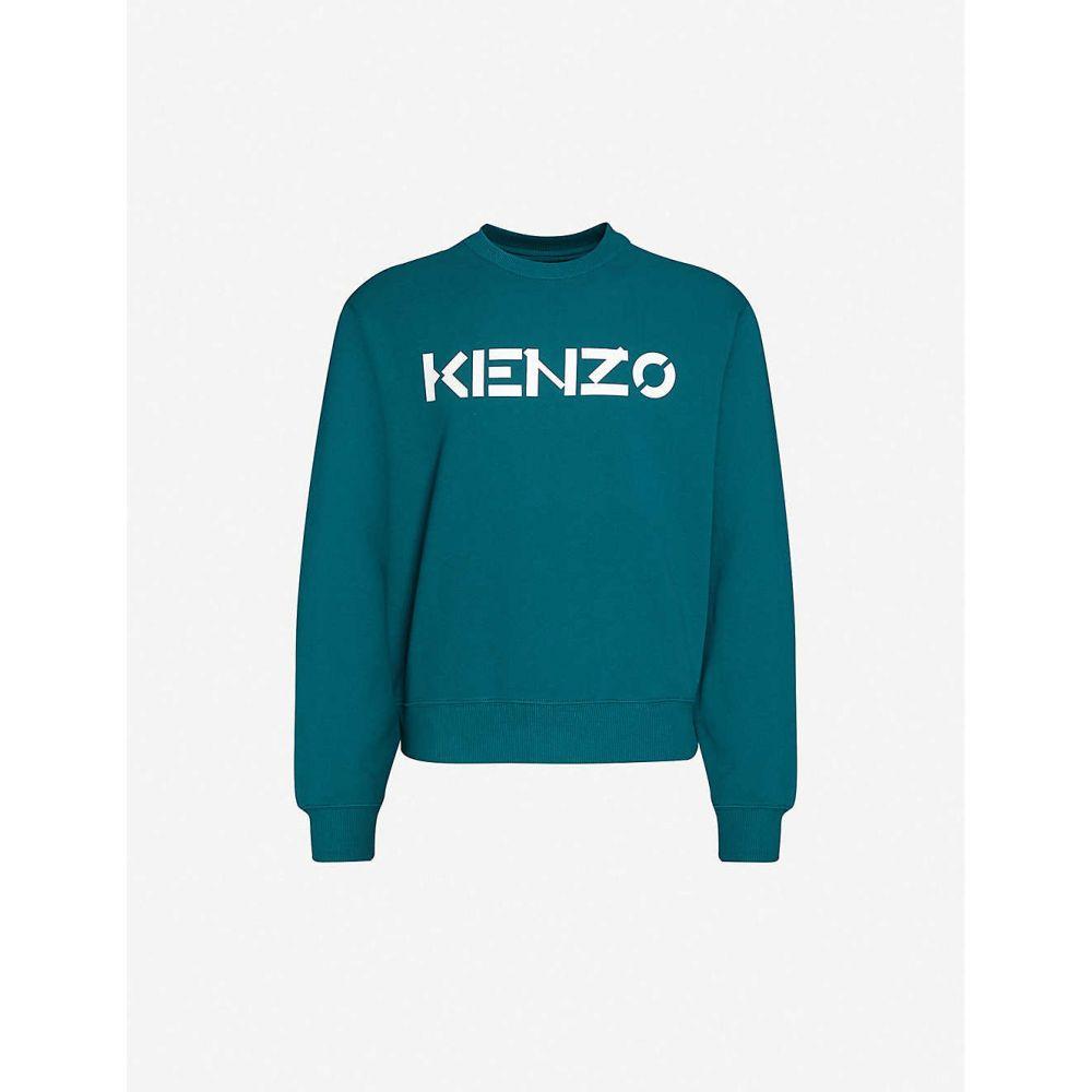ケンゾー KENZO メンズ スウェット・トレーナー トップス【Graphic-print crewneck cotton-jersey sweatshirt】Duck Blue
