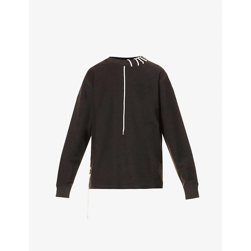クレイググリーン CRAIG GREEN メンズ スウェット・トレーナー トップス【Laced cotton-jersey sweatshirt】BLACK CREAM