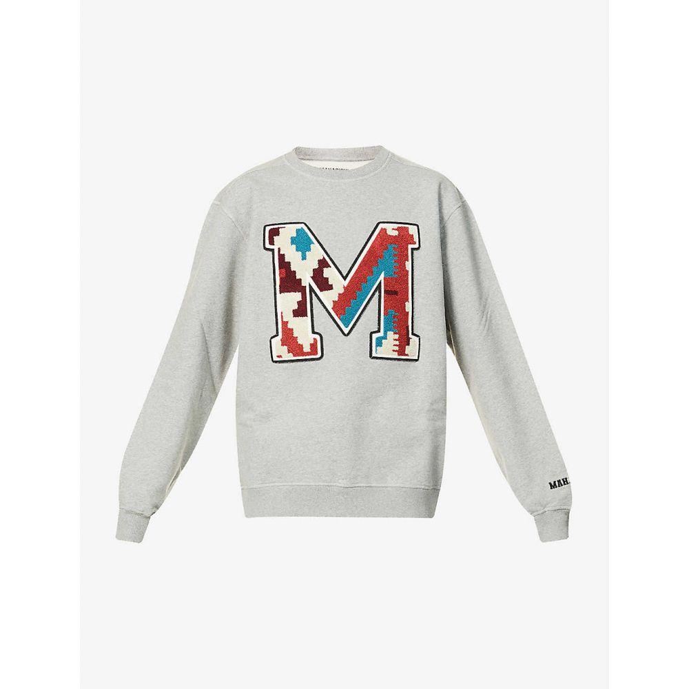 マハリシ MAHARISHI メンズ スウェット・トレーナー トップス【Logo-embroidered cotton-jersey sweatshirt】GREY MARL