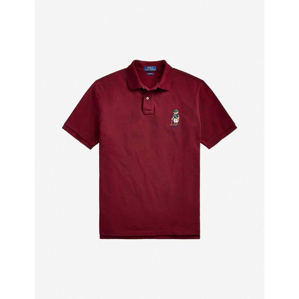 ラルフ ローレン POLO RALPH LAUREN メンズ ポロシャツ トップス【Bar-embroidered cotton-piqu polo shirt】WINE