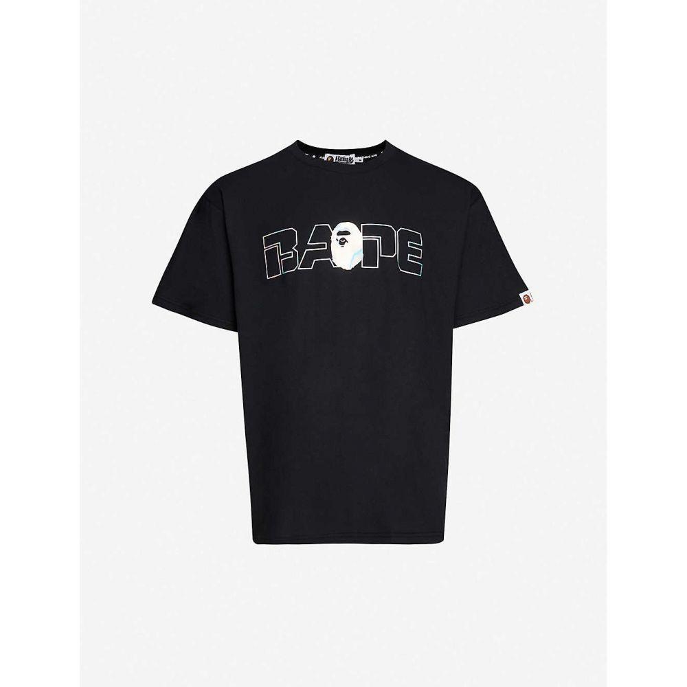 ア ベイシング エイプ A BATHING APE メンズ Tシャツ トップス【Aurora logo-print cotton-blend T-shirt】BLACK