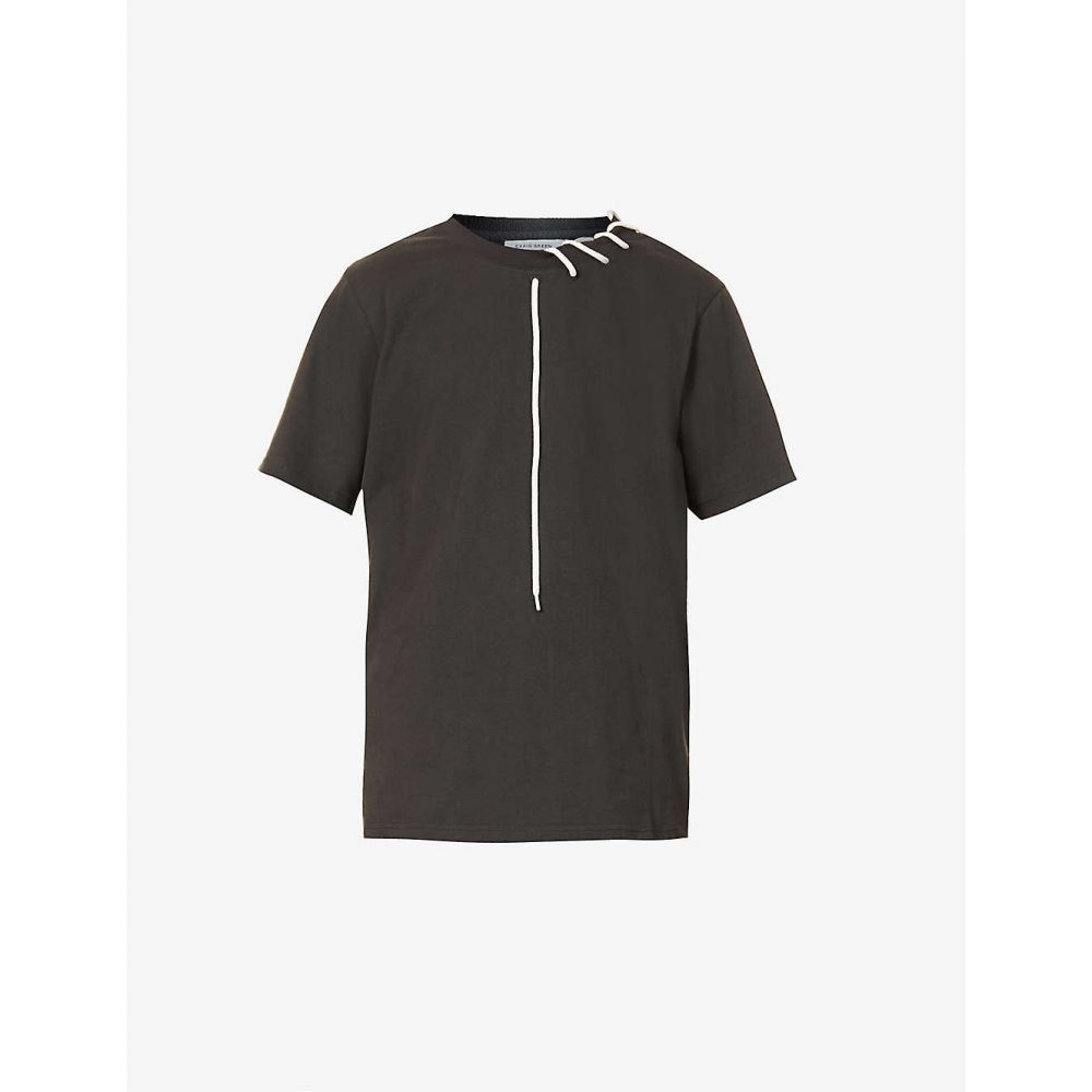 クレイググリーン CRAIG GREEN メンズ Tシャツ トップス【Laced cotton-jersey T-shirt】BLACK CREAM