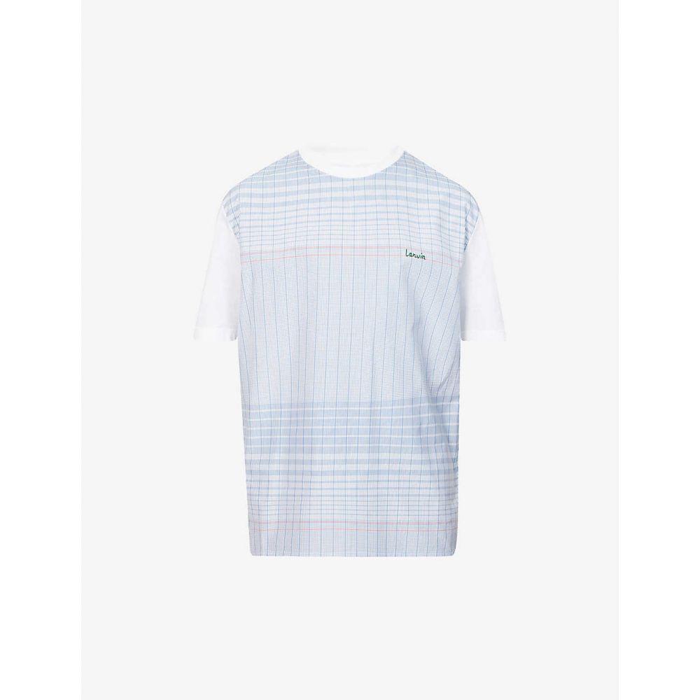 ランバン LANVIN メンズ Tシャツ トップス【Logo-embroidered cotton T-shirt】BLUE PINK