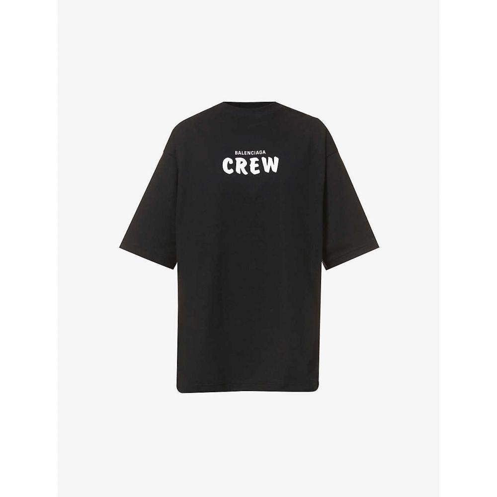 【2018?新作】 バレンシアガ BALENCIAGA バレンシアガ レディース Tシャツ トップス【Brand-print cotton-jersey BALENCIAGA トップス【Brand-print T-shirt】BLACK WHT, わんのはな:77d1e590 --- experiencesar.com.ar