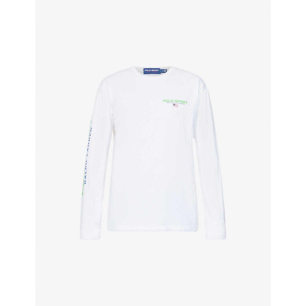 ラルフ ローレン POLO RALPH LAUREN メンズ 長袖Tシャツ トップス【Logo-print long-sleeved cotton top】WHITE