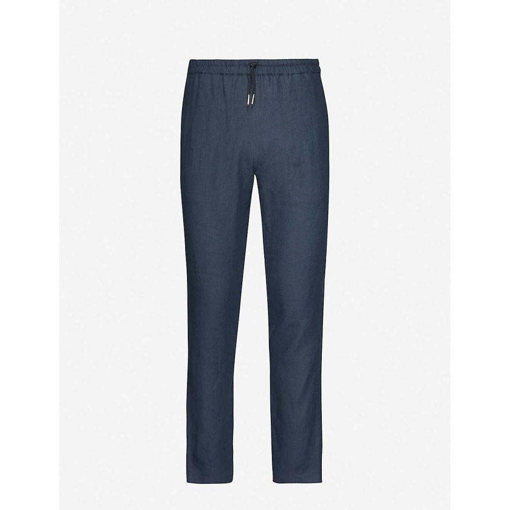 サンドロ SANDRO メンズ ボトムス・パンツ 【Alpha straight-leg linen trousers】NAVY BLUE