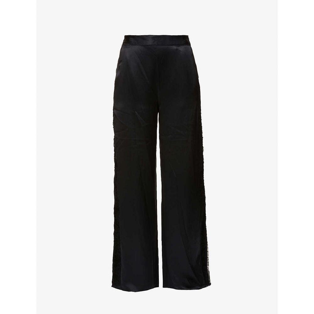フルール ドゥ マル FLEUR DU MAL レディース パジャマ・ボトムのみ インナー・下着【Rose lace-trim wide-leg silk-satin pyjama bottoms】Black:フェルマート