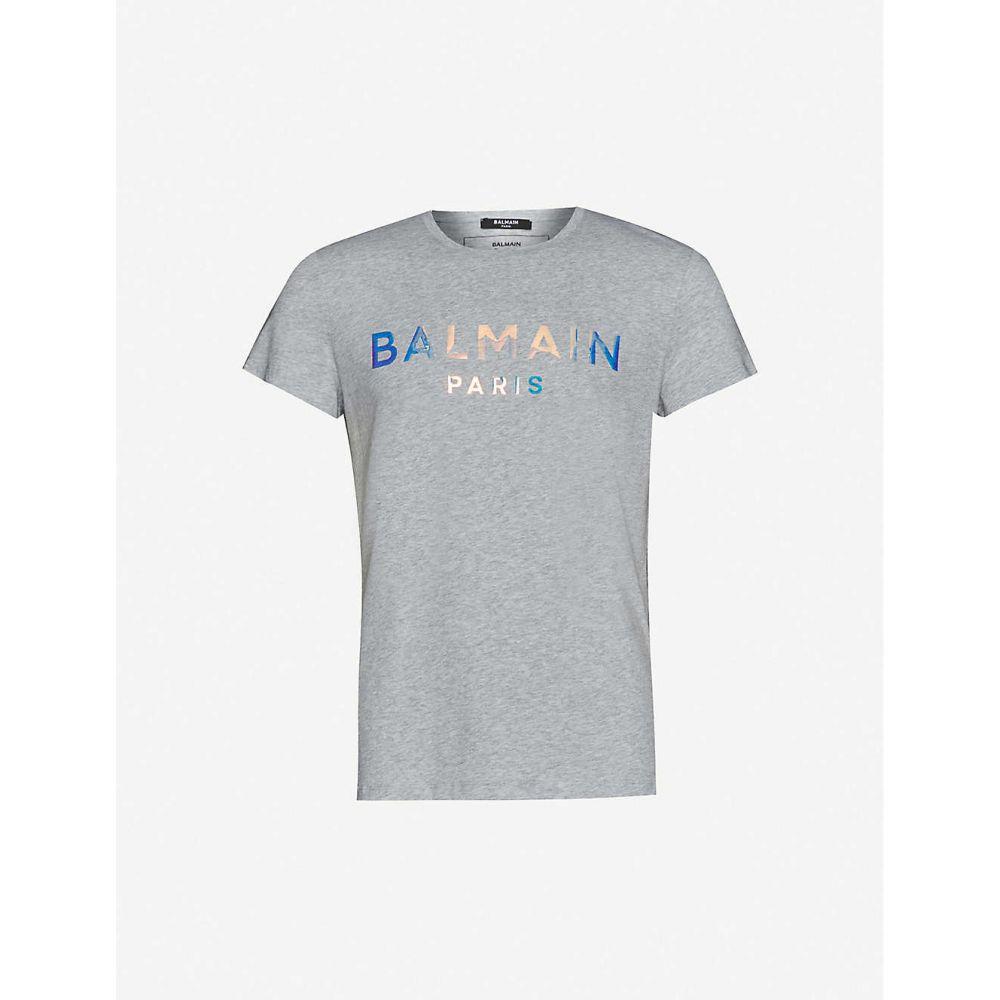 バルマン BALMAIN メンズ Tシャツ トップス【Holographic logo-print cotton-jersey T-shirt】Gris
