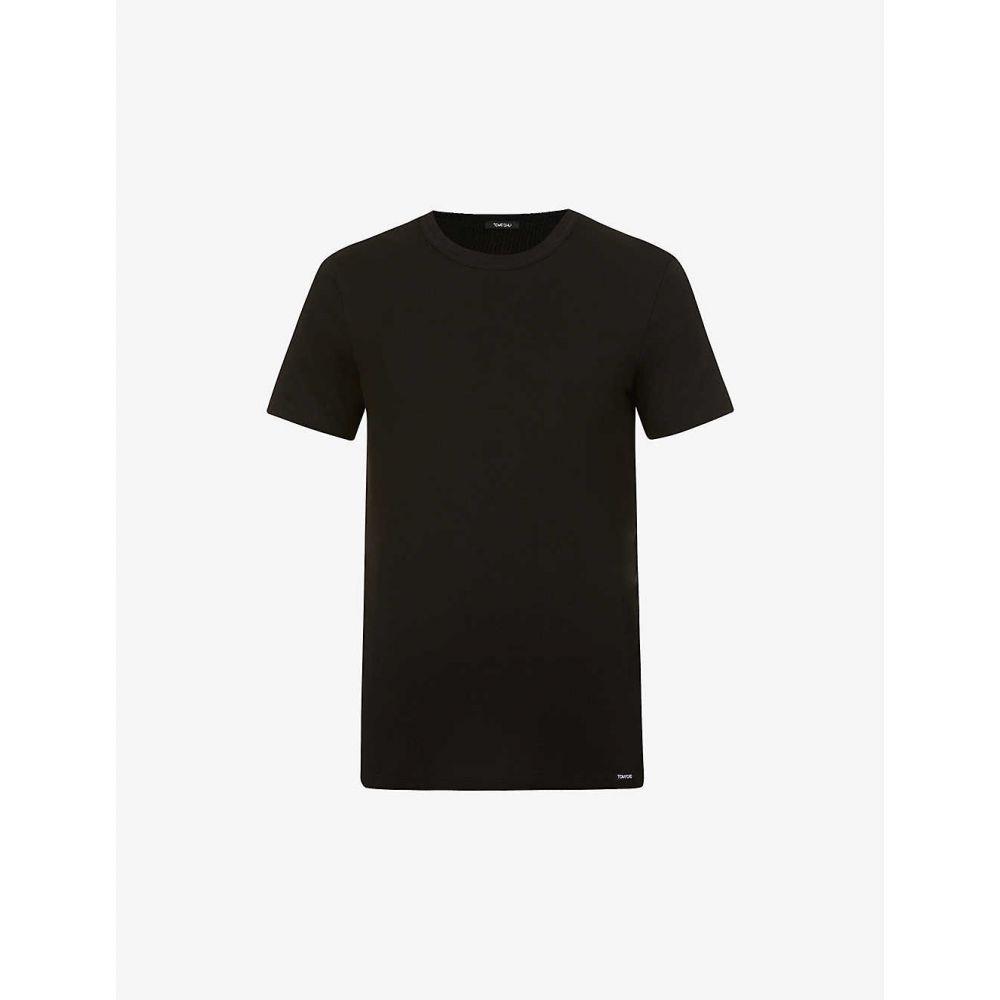 FORD メンズ Tシャツ フォード トップス【Crewneck regular-fit TOM stretch-cotton T-shirt】BLACK トム