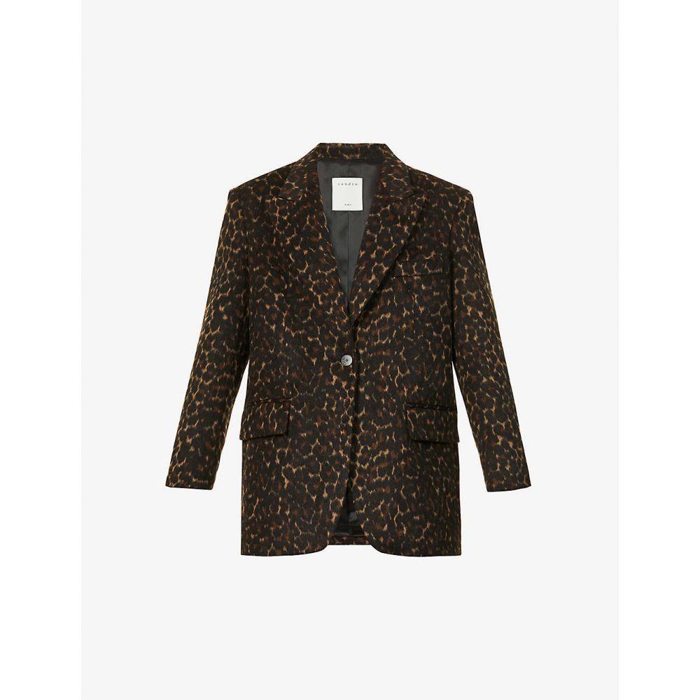 定番  サンドロ woven coat】BLACK SANDRO レディース コート アウター【Leopard-print woven coat】BLACK アウター【Leopard-print BROWN, 電材BlueWood:f631e180 --- experiencesar.com.ar