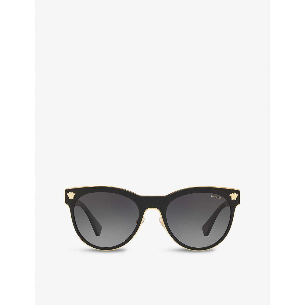 レディース メガネ・サングラス ヴェルサーチ phantos-frame sunglasses】BLACK polarised metal VERSACE 【VE2198