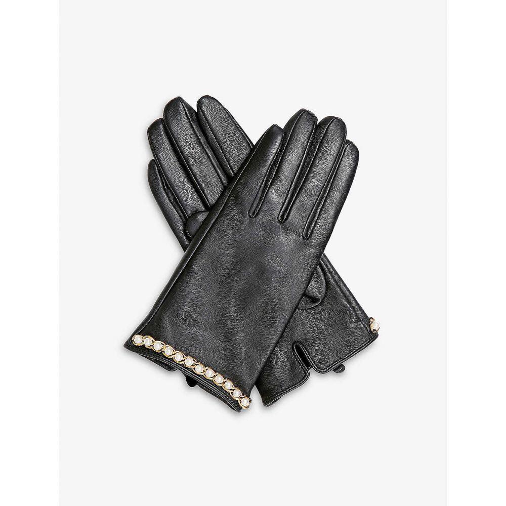 デンツ DENTS レディース 手袋・グローブ 【Faux-pearl embellished leather gloves】BLACK