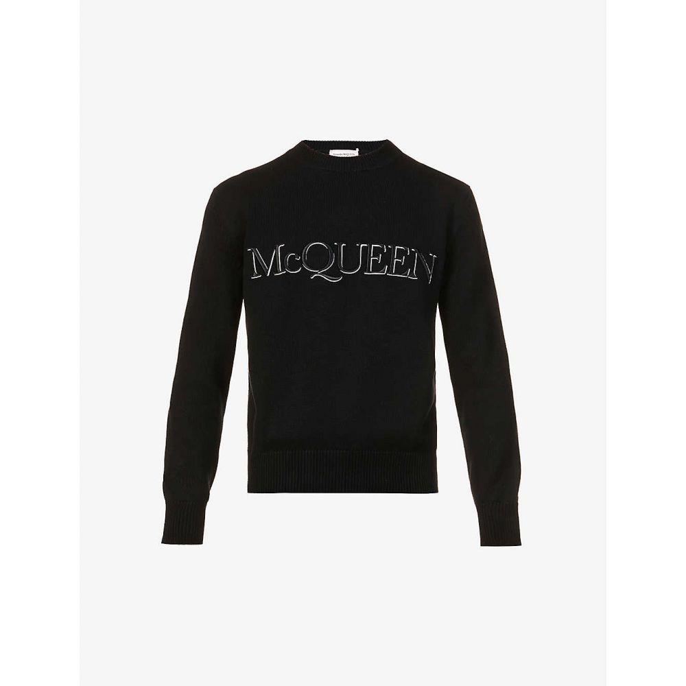 <title>アレキサンダー マックイーン メンズ トップス スウェット トレーナー 70%OFFアウトレット サイズ交換無料 ALEXANDER MCQUEEN ロゴ刺繍 コットンジャージー Logo-Embroidered Cotton-Jersey Sweatshirt BLACK WHITE</title>
