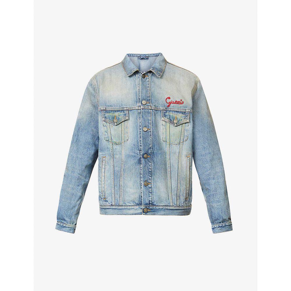 【送料無料/即納】  グッチ GUCCI メンズ メンズ ジャケット デニムジャケット アウター【Cat アウター GUCCI【Cat embroidered denim jacket】BLUE, 最安値級価格:69f295e4 --- yatenderrao.com