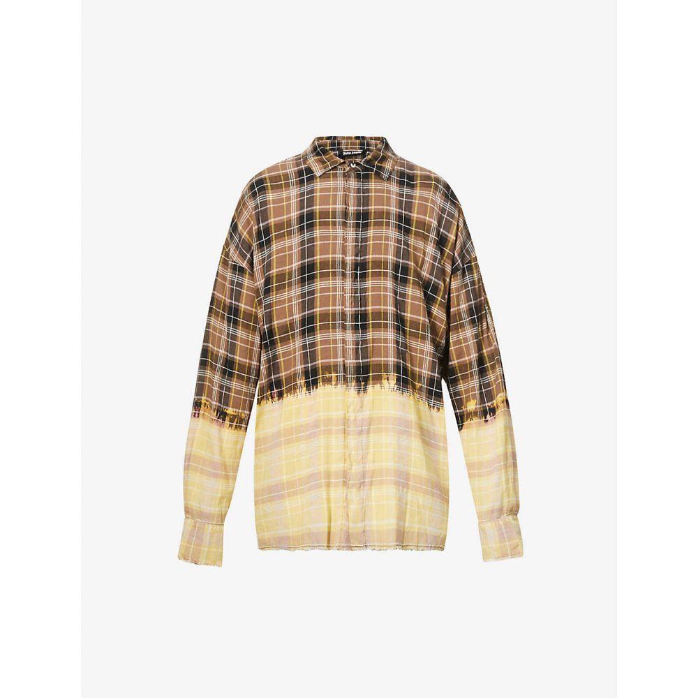 パーム エンジェルス メンズ トップス シャツ サイズ交換無料 PALM ANGELS リネン混 リネン Contrasting 『1年保証』 麻混 Check 割り引き Linen-Blend Shirt WHITE BROWN