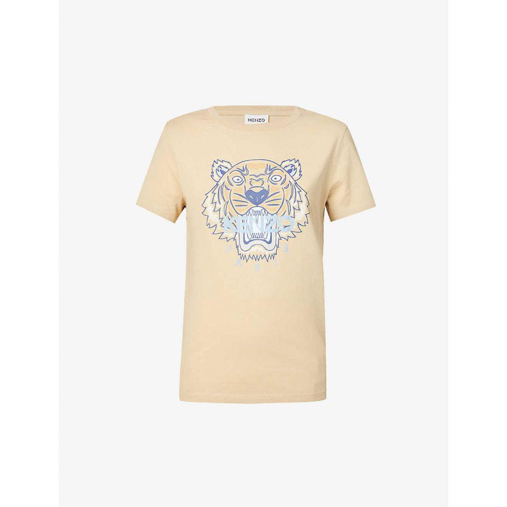 ケンゾー レディース トップス Tシャツ 予約 サイズ交換無料 KENZO Icon BIEGE cotton-jersey Classic T-shirt 海外輸入 tiger-print