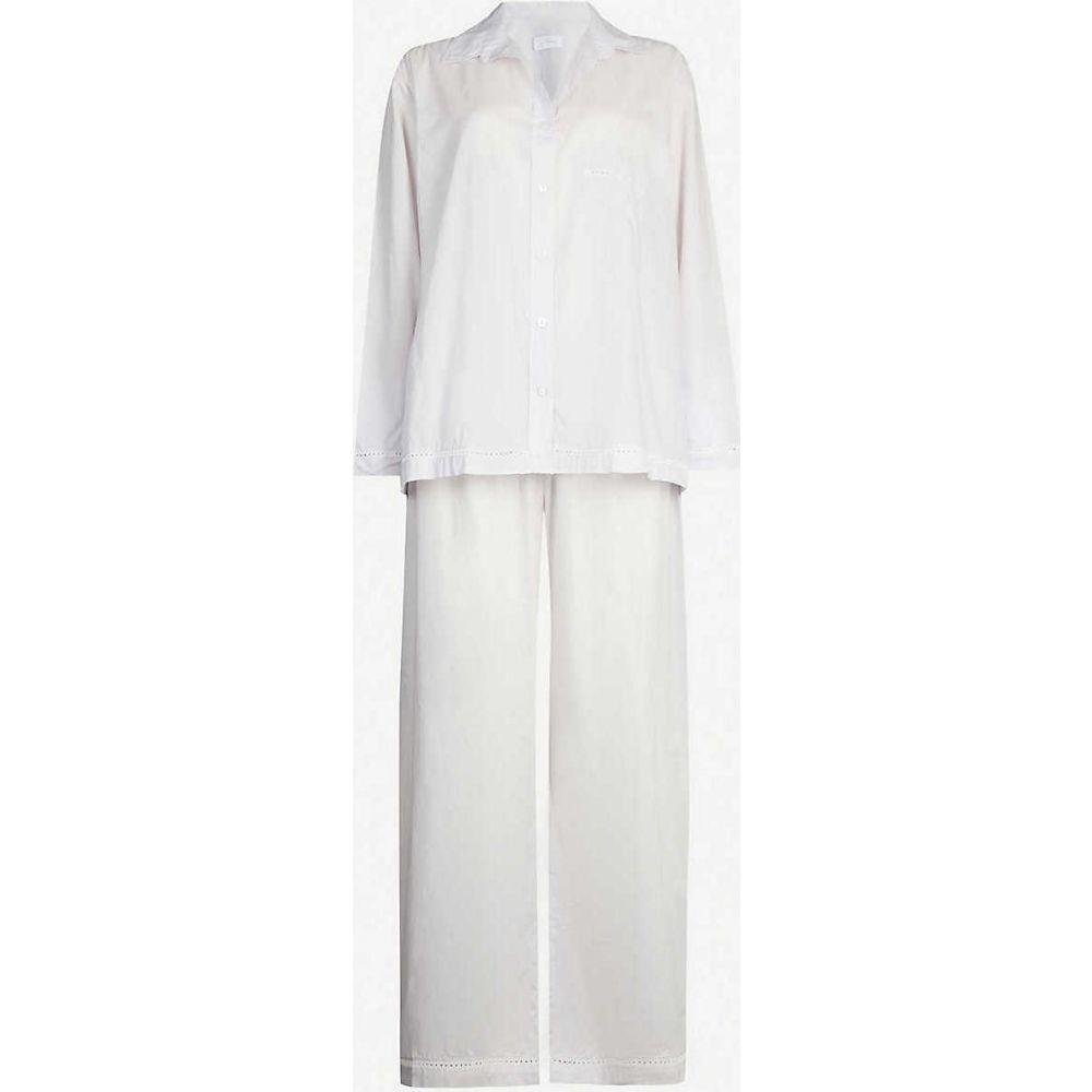 プーラ ファム POUR LES FEMMES レディース パジャマ·上下セット コットン インナー·下着【Lace-Detail Cotton Pyjama Set】GREY