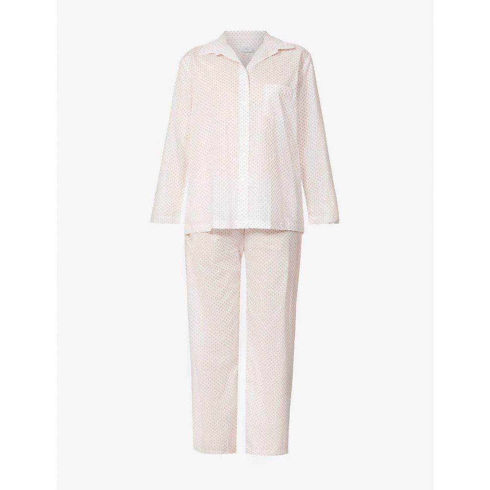 プーラ ファム POUR LES FEMMES レディース パジャマ·上下セット ポプリン 星柄 スター柄 スタープリント コットン インナー·下着【Star-Print Cotton-Poplin Pyjama Set】Pink Star Print