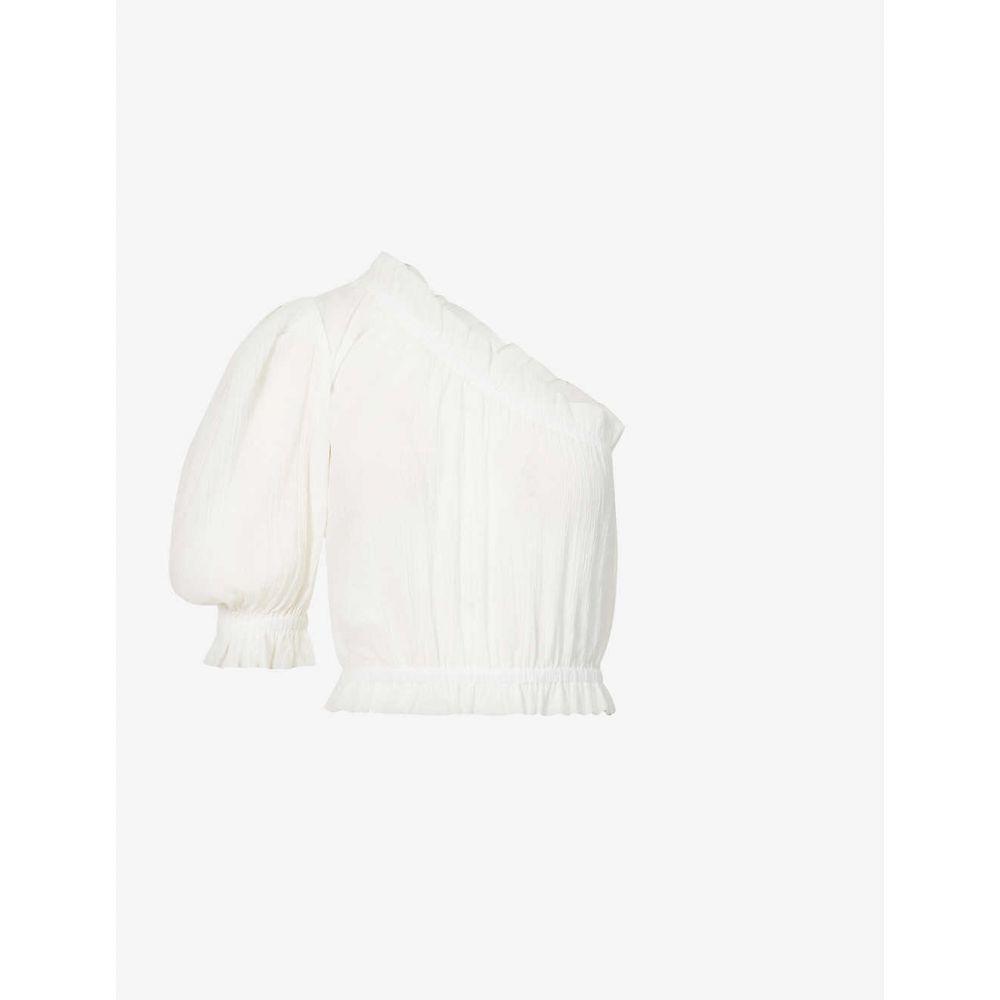 ポーニー PEONY レディース ビーチウェア 水着・ビーチウェア【One-shoulder puff-sleeve organic cotton top】MAGNOLIA