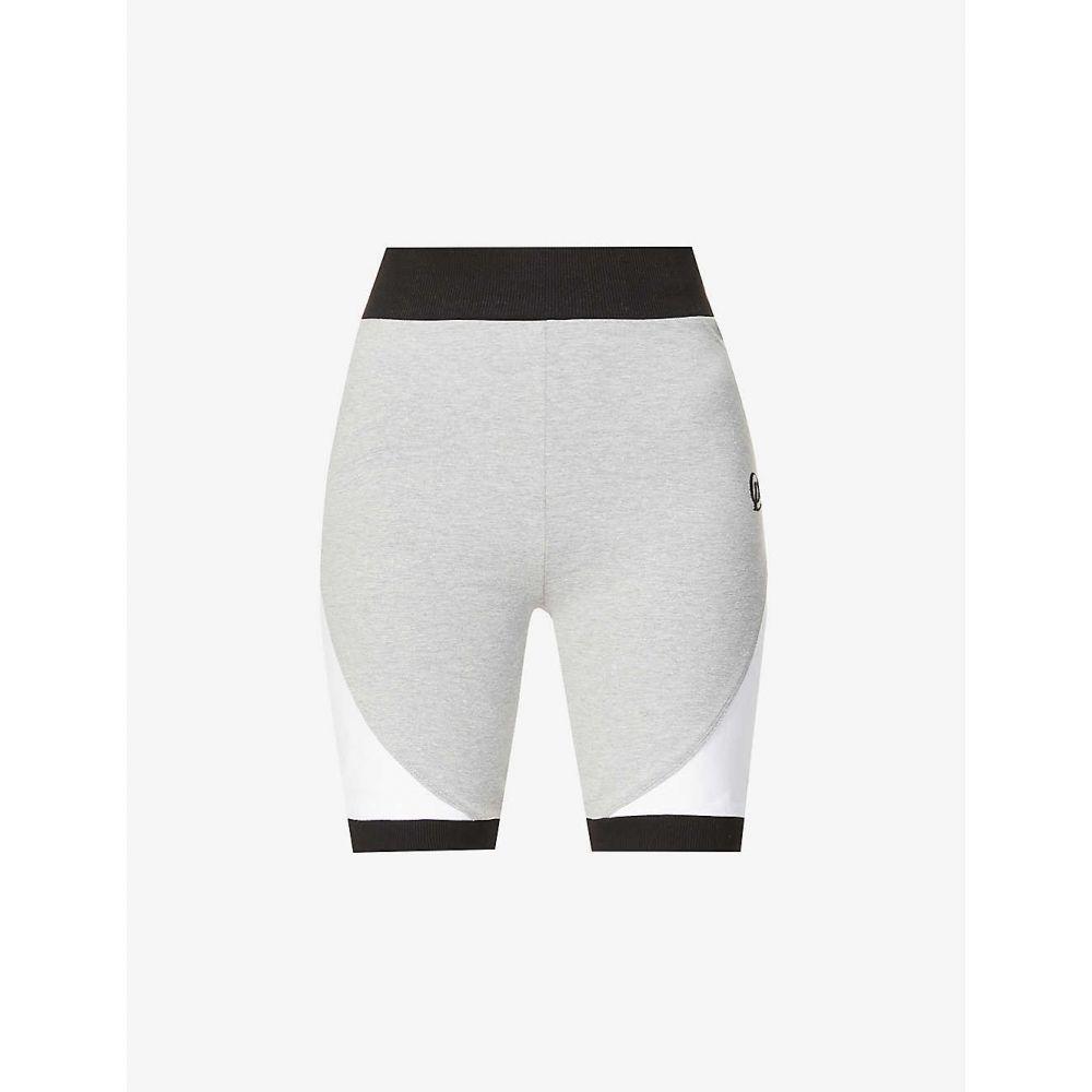オー ドールズ コレクション レディース 自転車 ボトムス パンツ サイズ交換無料 ODOLLS COLLECTION Cycling High-Rise WHITE GREY ロゴ刺繍 アイテム勢ぞろい Stretch-Cotton 割引 Logo-Embroidered ハイライズ Shorts