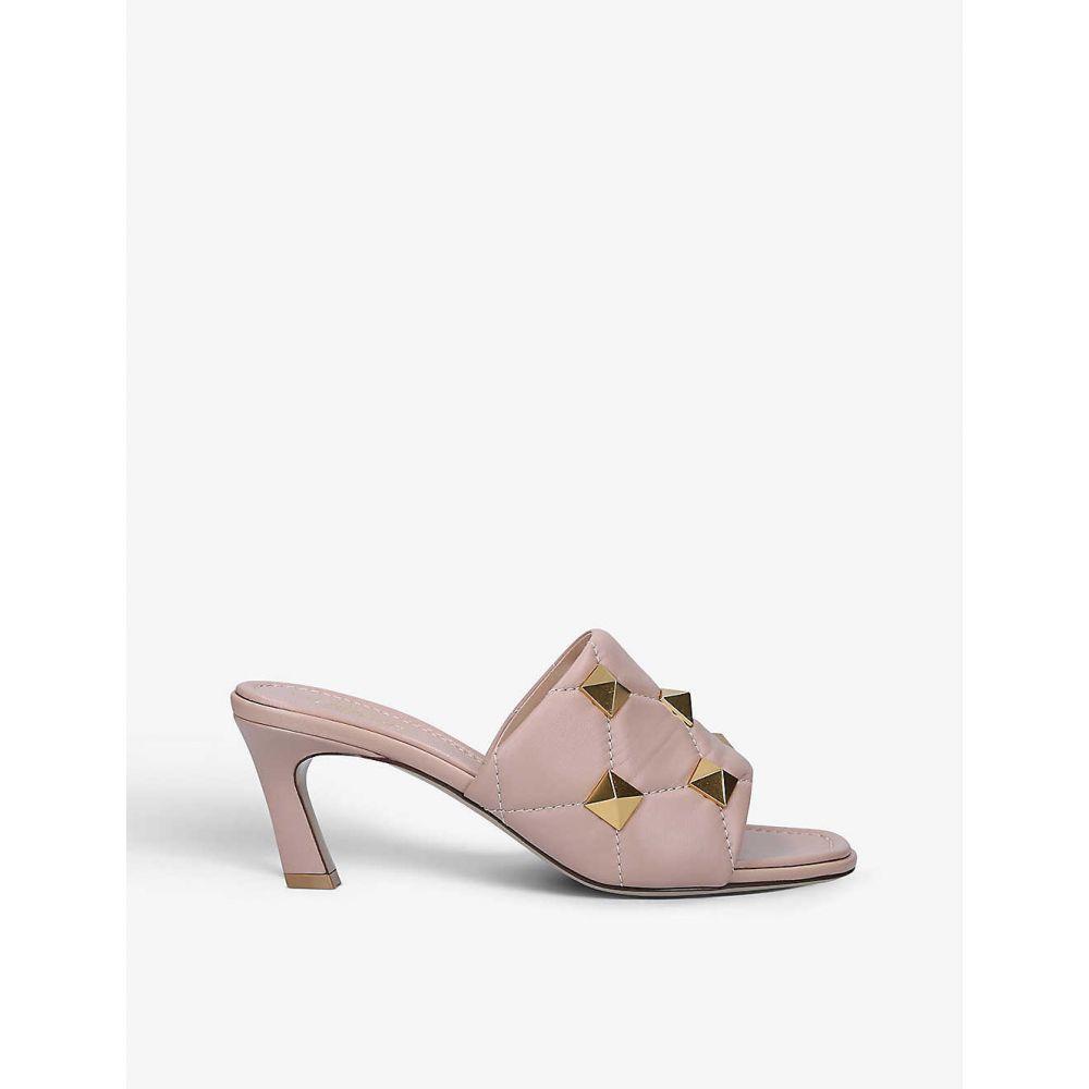 ヴァレンティノ VALENTINO GARAVANI レディース サンダル・ミュール シューズ・靴【Oversized Rockstud Leather Heeled Mules】PINK