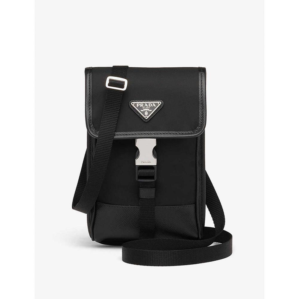 プラダ PRADA LINEA ROSSA レディース スマホケース 【Brand-plaque Re-Nylon and leather phone case】BLACK