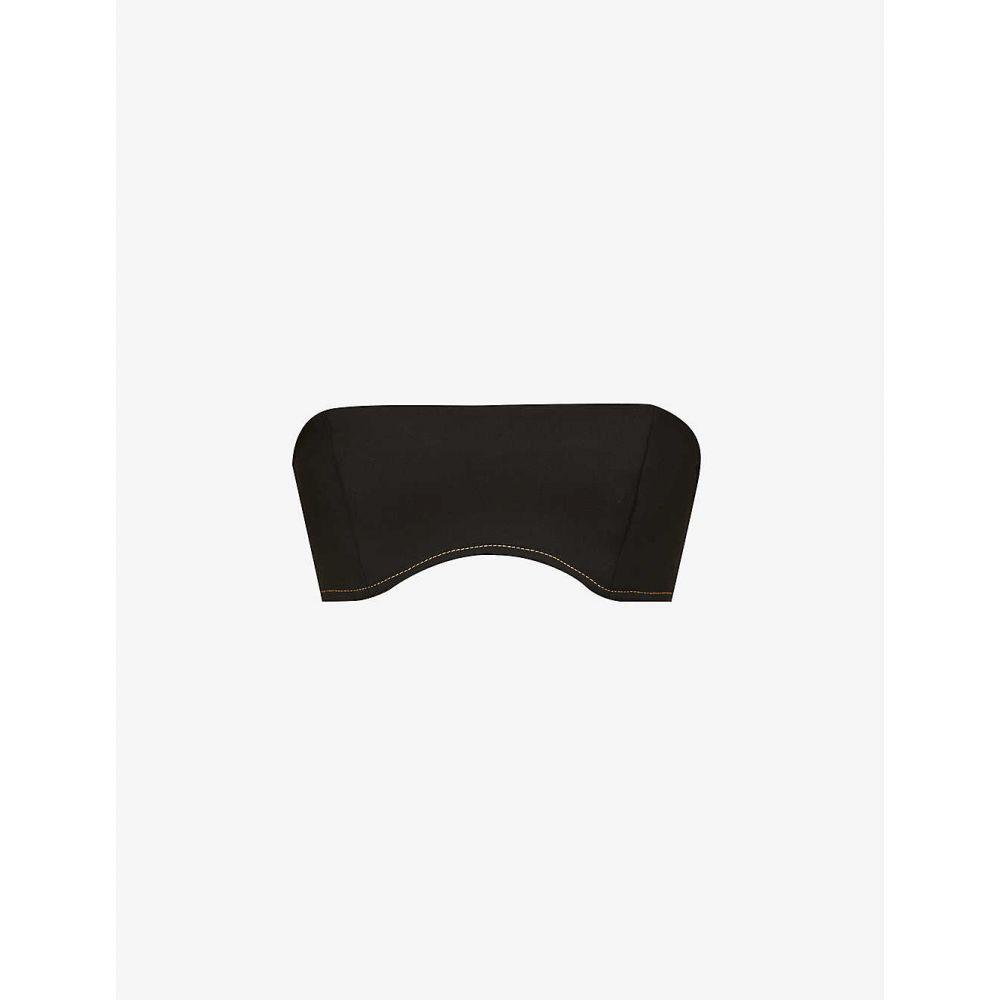 サー レディース トップス 公式ストア ベアトップ チューブトップ クロップド ◆高品質 BLACK サイズ交換無料 Maxe sleeveless woven-cotton bandeau バンドゥ SIR top