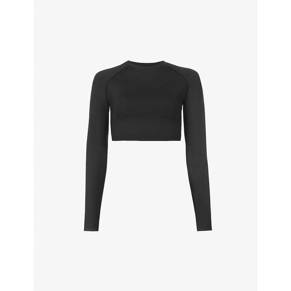 毎日激安特売で 営業中です アダノーラ レディース トップス ベアトップ チューブトップ クロップド WEB限定 BLACK サイズ交換無料 Cropped stretch-jersey long-sleeved ADANOLA top