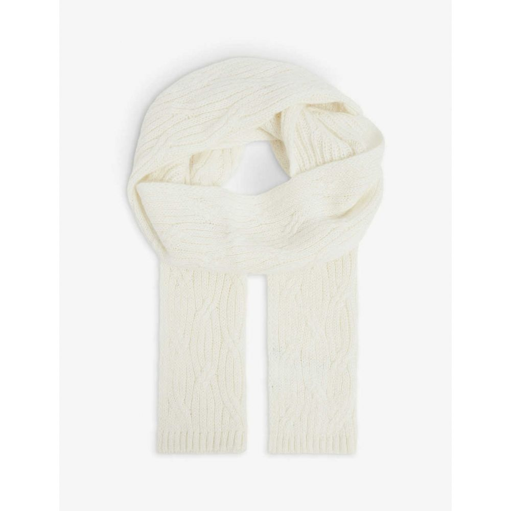 ベネトン レディース ファッション小物 マフラー スカーフ ストール Wool-Blend Scarf BENETTON Knitted サイズ交換無料 入荷予定 高額売筋 CREAM