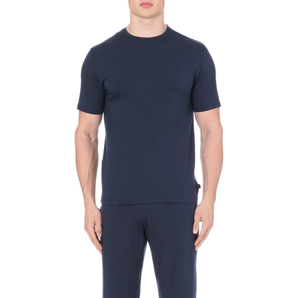 デリックローズ derek rose メンズ インナー パジャマ・トップのみ【basel stretch-jersey t-shirt】Blue