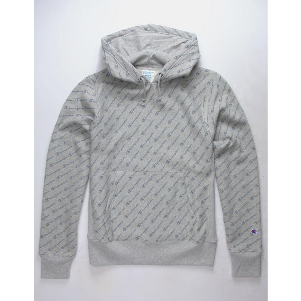 チャンピオン CHAMPION メンズ トップス スウェット・トレーナー【Life Reverse Weave All-Over Logo Oxford Gray s Hoodie】Oxford Gray