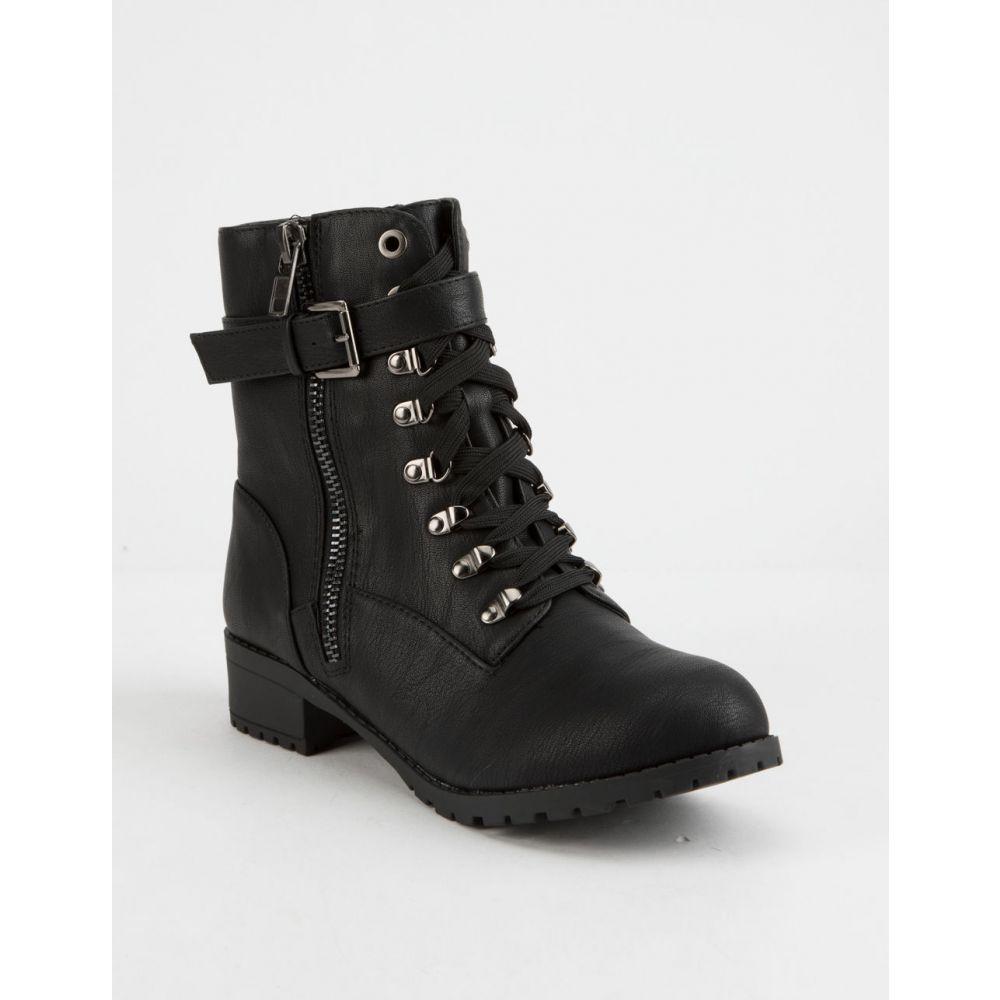 ソーダ SODA レディース シューズ・靴 ブーツ【Strap Buckle Tan s Combat Boots】Black