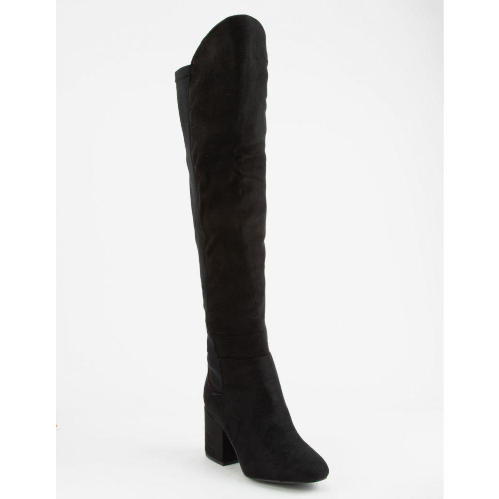ワイルドディーバ WILD DIVA レディース シューズ・靴 ブーツ【Faux Suede Stretch Black s Over The Knee Boots】Black