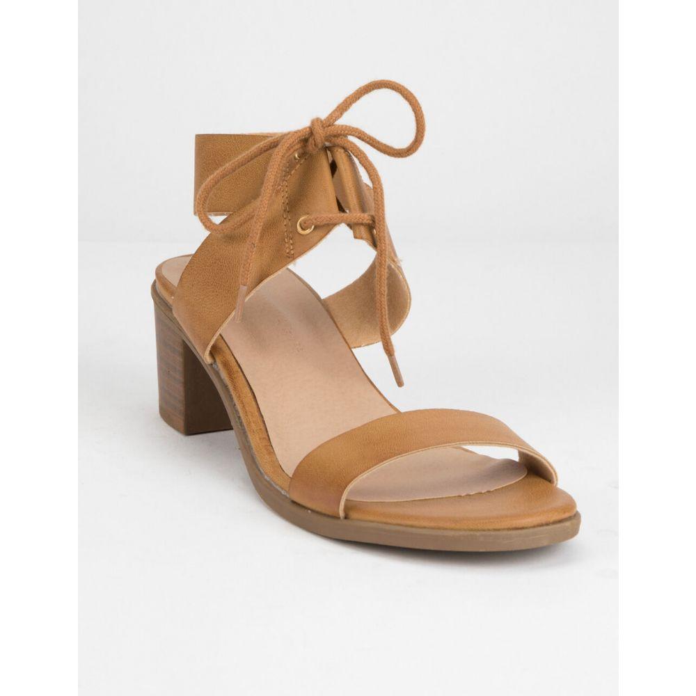 ワイルドディーバ WILD DIVA レディース シューズ・靴 サンダル・ミュール【Lace Up Block Black Heeled Sandals】TAN