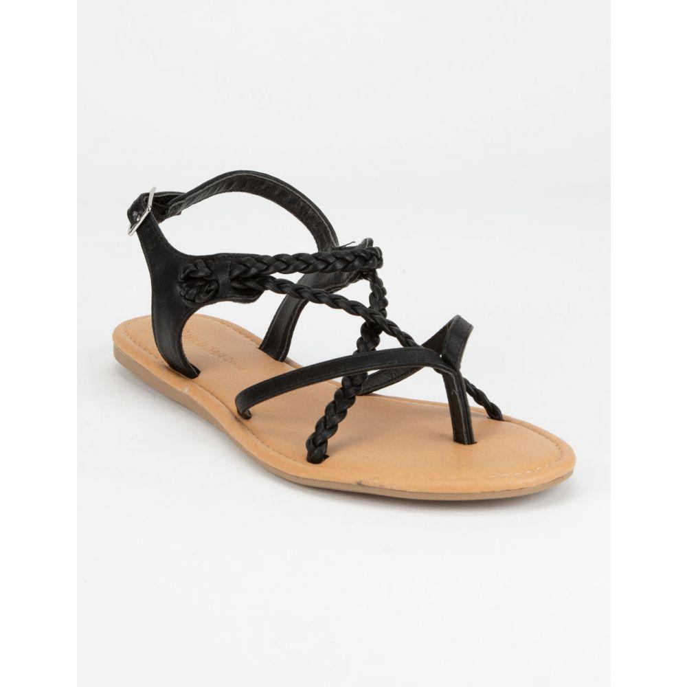 ワイルドディーバ WILD DIVA レディース シューズ・靴 サンダル・ミュール【Braid Ankle Strap Tan Sandals】BLACK